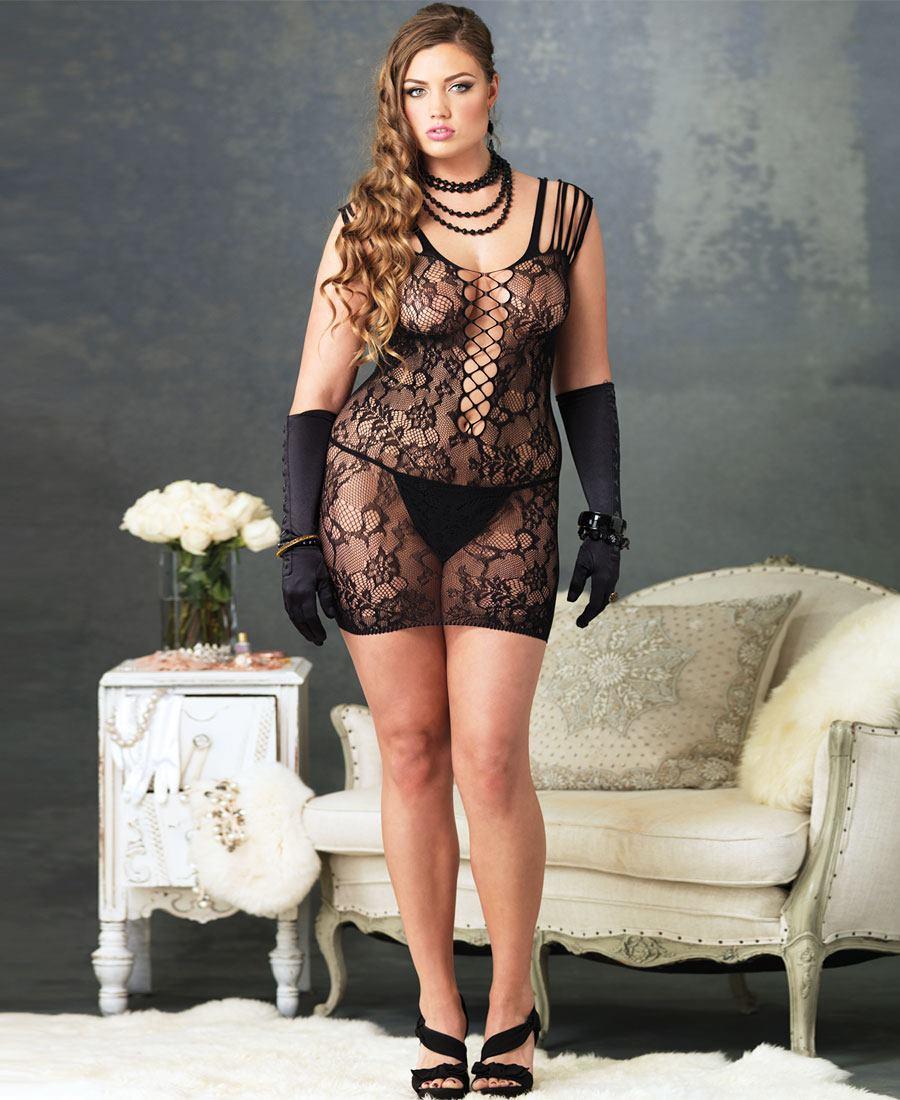 Size Floral Lace Strappy Chemise La-86547Q