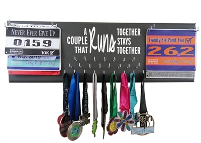 A couple that runs together stays together - medal rack