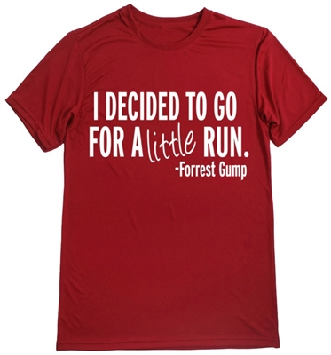 Man's running shirt with Forrest Gump quote