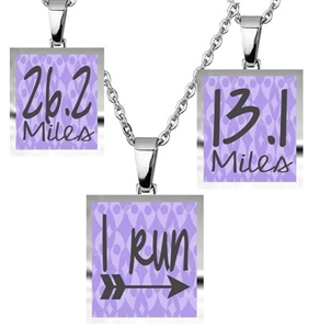 Purple runner's necklace with charms