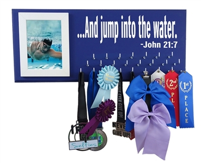 ...And jump into the water. John 21:7 swim swimming medal holder awards ribbons hanger display