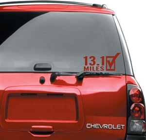 13.1 half marathon car sticker for women