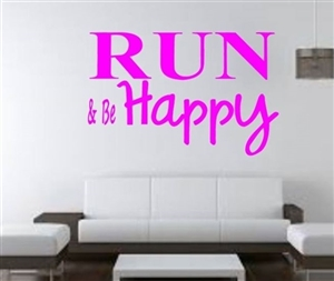 Running wall decal - Run & be HAPPY