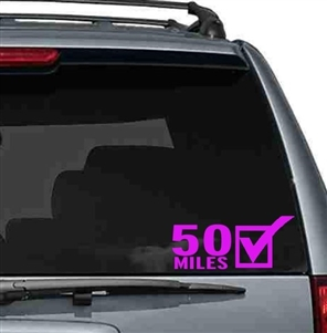 50 miles car sticker