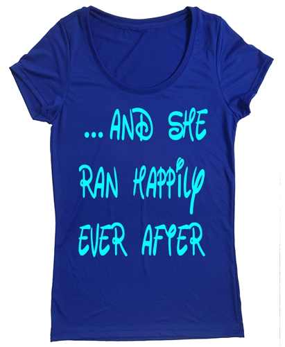 Run disney women 39 s t shirt and she ran happily ever after for Disney happily ever after shirt