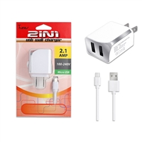 2 IN 1 Wall Charger 2.1 Amp For Micro USB V8/V9 White