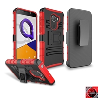 Alcatel Revvl/ Walters/ A30 Fierce/ 5049 Holster Belt Clip Combo Hybrid Kickstand CB5C Red