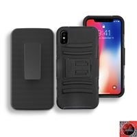 Apple iPhone X Holster Combo Hybrid Kickstand CB5C Black