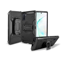 Samsung Galaxy Note 10 Holster Belt Clip Super Combo Hybrid Kickstand Case CB7C Black