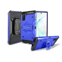 Samsung Galaxy Note 10 Holster Belt Clip Super Combo Hybrid Kickstand Case CB7C Blue