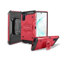 Samsung Galaxy Note 10 Holster Belt Clip Super Combo Hybrid Kickstand Case CB7C Red