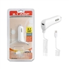 For TYPC C / USB C Car Charger 2.1 Amp w/USB port,  5ft, 4mm, White