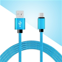 DC03-TYPE C / USB C ( 6 ft ) Braided Nylon Date Sync Charging Cable Blue