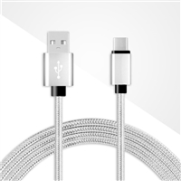 DC03-TYPE C / USB C ( 6 ft ) Braided Nylon Date Sync Charging Cable Silver