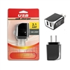 Dual USB 2.1 Amp Wall / Travel Adapter Black