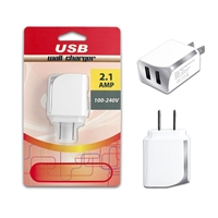 Dual USB 2.1 Amp Wall / Travel Adapter White