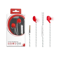 HF03-Red 3.5mm Deluxe Stereo Earbuds Headsfree Integrated Volume Control
