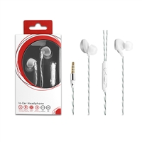HF03-Silver 3.5mm Deluxe Stereo Earbuds Headsfree Integrated Volume Control