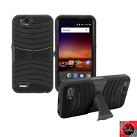 For ZTE Tempo X N9137/ AVID 4 /Fanfare 3 /Blade Vantage Hybrid Kickstand Cover Case HYB08 BLACK