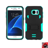 Samsung Galaxy S7 Rugged Armor Hybrid Kickstand Case Teal