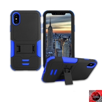 Apple iPhone X Rugged Armor Hybrid Kickstand Case HYB11 Blue