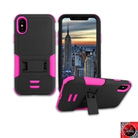 Apple iPhone X Rugged Armor Hybrid Kickstand Case HYB11 Pink