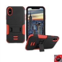 Apple iPhone X Rugged Armor Hybrid Kickstand Case HYB11 Red