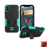 Apple iPhone X Rugged Armor Hybrid Kickstand Case HYB11 Teal