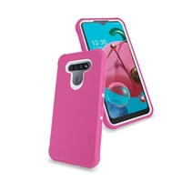 LG Aristo 5/ Fortune 3/ Tribute Monarch/ K300 Slim Defender Cover Case HYB12 Pink/White