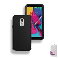 LG Stylo 5 Slim Defender Cover Case HYB12 Black/Black