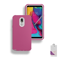 LG Stylo 5 Slim Defender Cover Case HYB12 Pink/White