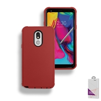 LG Stylo 5 Slim Defender Cover Case HYB12 Red/Black