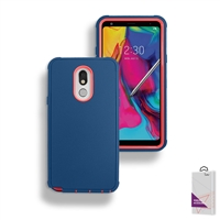 LG Stylo 5 Slim Defender Cover Case HYB12 Teal/Pink