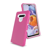 LG Stylo 6 Slim Defender Cover Case HYB12 Pink/White