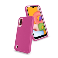 Samsung Galaxy A01 (A015) Slim Defender Cover Case HYB12 Pink/White