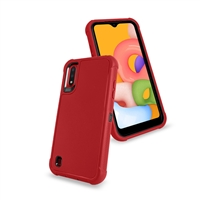 Samsung Galaxy A01 (A015) Slim Defender Cover Case HYB12 Red/Black