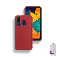 Samsung Galaxy A20/A30/A50 Slim Defender Cover Case HYB12 Red/Black