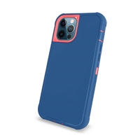 "Apple iPhone 12 Pro Max (6.7"") Slim Armor Rugged Defender Hybrid Cover Case HYB12 Blue/Pink"
