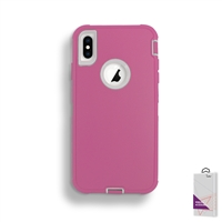 Apple iPhone X/ Xs Slim Defender Cover Case HYB12 Pink/White