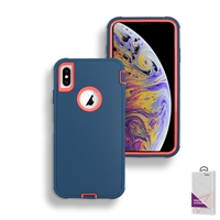 Apple iPhone Xs Max Slim Defender Cover Case HYB12 Teal/Pink