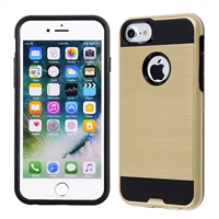 IPHONE 7/ IPHONE 8 METAL BRUSH CASE SILVER HYB22 GOLD