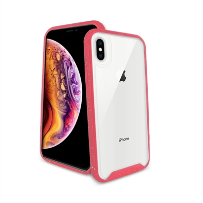 iPhone 8 Plus/ 7 Plus/ 6 Plus Paint splatter accent Synthetic rubber+Clear polycarbonate shell HYB31 Pink