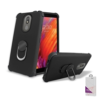 LG Aristo 4+ / Escape Plus/ Tribute Royal/ X320 Hybrid Ring Kickstand Case HYB32 Black/ Black