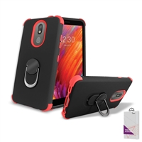 LG Aristo 4+ / Escape Plus/ Tribute Royal/ X320 Hybrid Ring Kickstand Case HYB32 Black/ Red