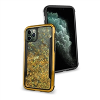 "iPhone 11 (6.1"") Liquid Glitter Quicksand Slim Chrome Edge Clear Back Cover Case HYB33G Gold"