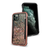 "iPhone 11 (6.1"") Liquid Glitter Quicksand Slim Chrome Edge Clear Back Cover Case HYB33G Rose Gold"