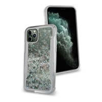 "iPhone 11 Pro (5.8"") Liquid Glitter Quicksand Slim Chrome Edge Clear Back Cover Case HYB33G Silver"