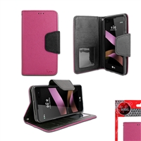 LG TRIBUTE HD / LS676 Leather Wallet Case HOT PINK