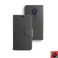 Motorola Moto G7 Power/ Moto G7 Supra /XT1955 Leather Folio Wallet Case WC01 Black