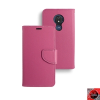 Motorola Moto G7 Power/ Moto G7 Supra /XT1955 Leather Folio Wallet Case WC01 Pink
